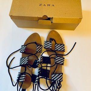 Zara laced up black white sandals size 7.5 women